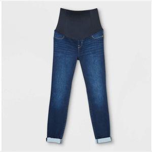 Crossover Panel Brushed Back Skinny Maternity Jean